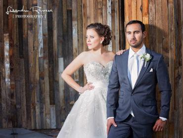 Bride and groom posed in abandoned restaurant in La quinta, CA