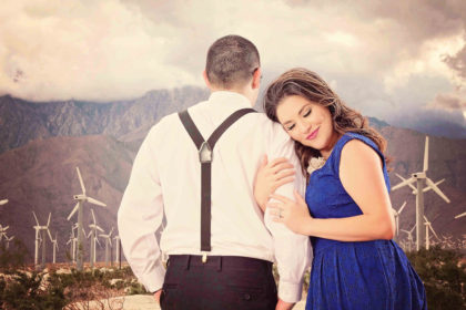 Engagement session in Palm springs by the windmills