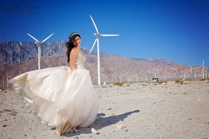 Quinceanera in Palm Springs by the windmills