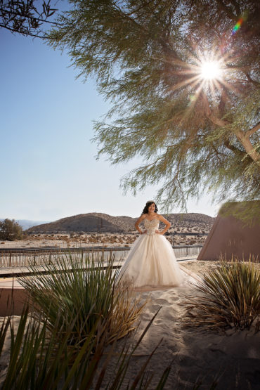 Quinceanera standing in Palm Springs Tram