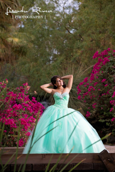 Quinceanera posing in Palm desert Country club