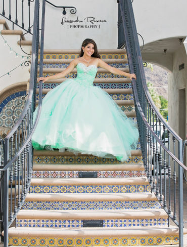 Quinceanera in Palm springs coming stairs